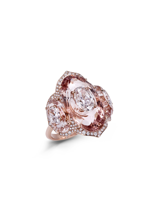 Diamond inlaid into morganite ring Kopie