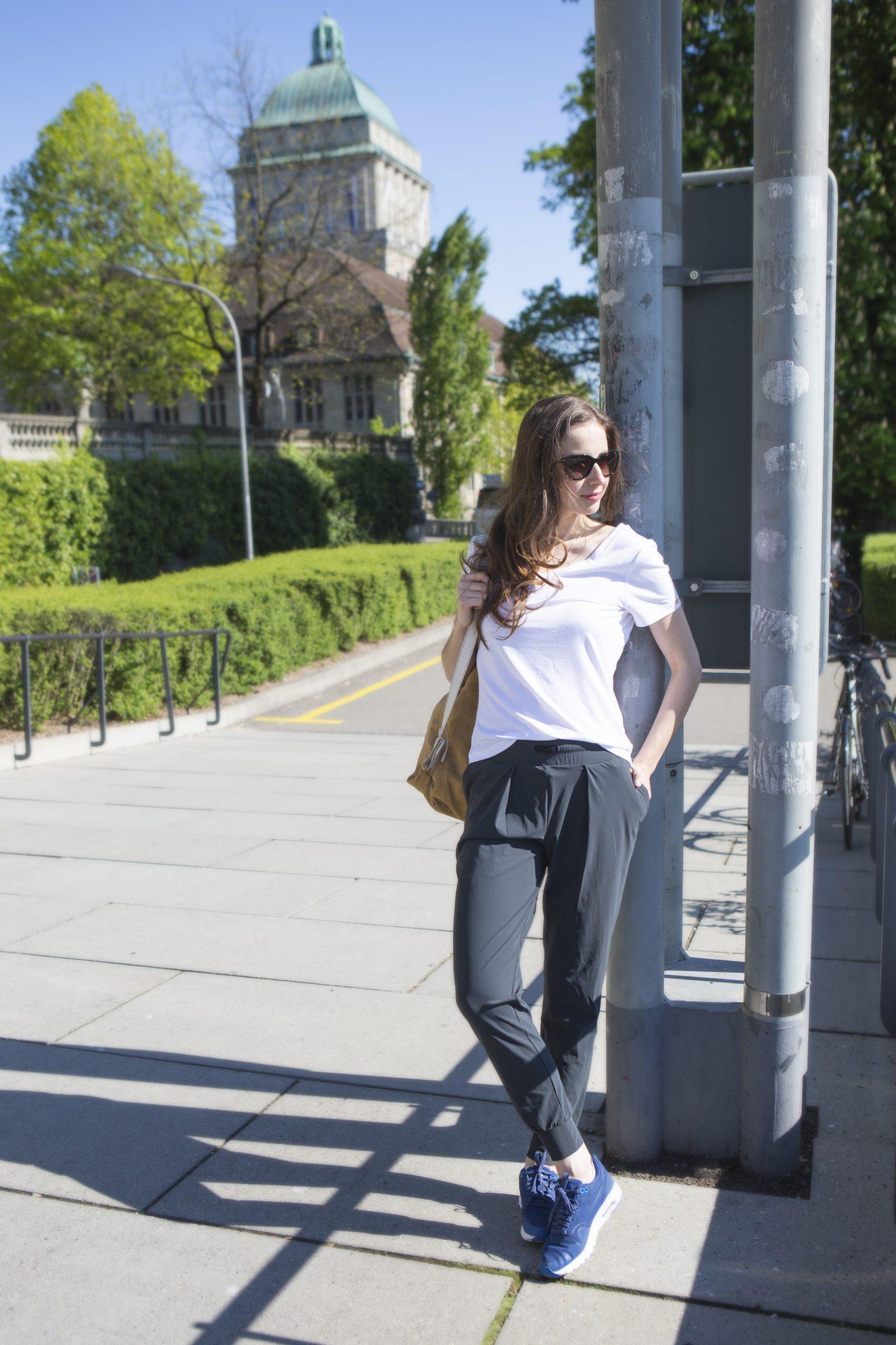 Luxe Légère Track Pants and V For Versatile T-Shirt